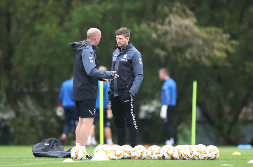 Rangers manager Steven Gerrard and assistant Gary McAllister are seen during a training session. (Photo by Ian MacNicol/Getty Images)