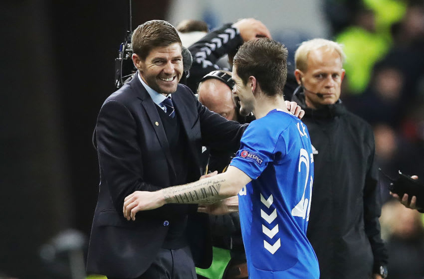 GLASGOW, SCOTLAND - OCTOBER 04: Rangers manager Steven Gerrard and Ryan Kent of Rangers are seen at full time during the UEFA Europa League Group G match between Rangers and SK Rapid Wien at Ibrox Stadium on October 4, 2018 in Glasgow, United Kingdom. (Photo by Ian MacNicol/Getty Images)