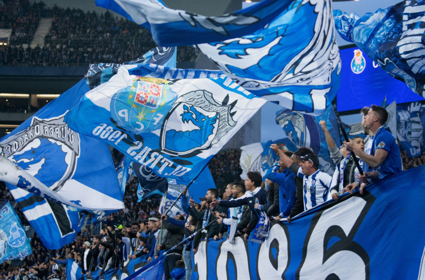 PORTO, PORTUGAL - APRIL 17: Fans of Porto celebrate during the UEFA Champions League Quarter Final second leg match between Porto and Liverpool at Estadio do Dragao on April 17, 2019 in Porto, Portugal. (Photo by Matthias Hangst/Getty Images)