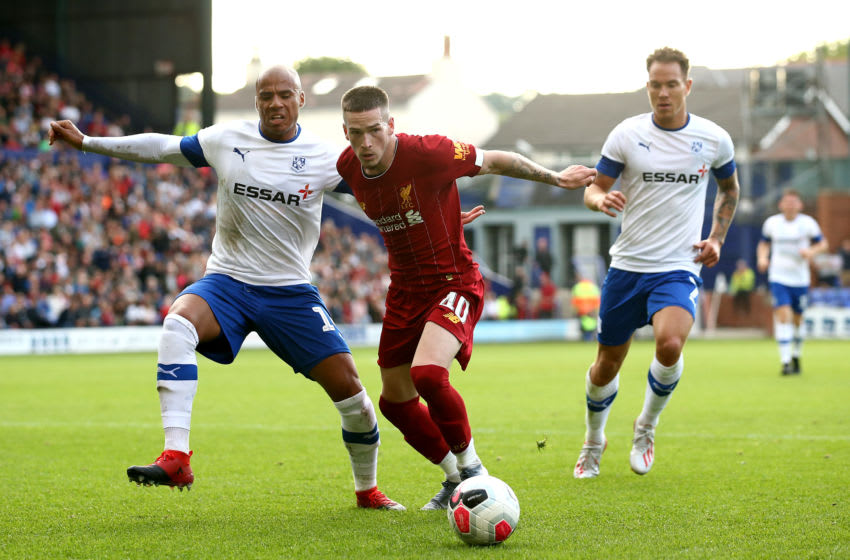 BIRKENHEAD, ENGLAND - JULY 11: Ryan Kent of Liverpool during the Pre-Season Friendly match between Tranmere Rovers and Liverpool at Prenton Park on July 11, 2019 in Birkenhead, England. (Photo by Jan Kruger/Getty Images)