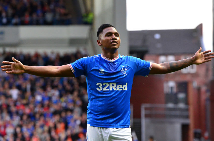 GLASGOW, SCOTLAND - AUGUST 15: Alfredo Morelos of Rangers celebrates scoring a goal in the first half during the UEFA Europa League Third Qualifying Round Second Leg match between Rangers and Midtjylland at Ibrox Stadium on August 15, 2019 in Glasgow, Scotland. (Photo by Mark Runnacles/Getty Images)