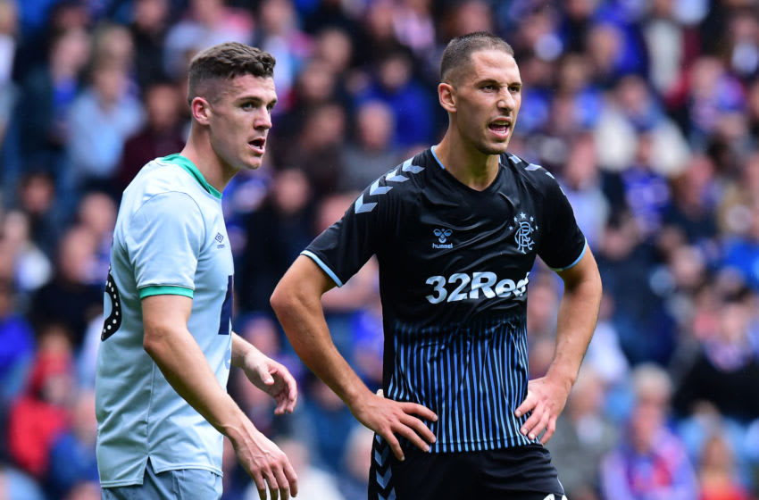 GLASGOW, SCOTLAND - JULY 21: Nikola Katic of Rangers (R), in action during the Pre-Season Friendly between Rangers FC and Blackburn Rovers at Ibrox Stadium on July 21, 2019 in Glasgow, Scotland. (Photo by Mark Runnacles/Getty Images)