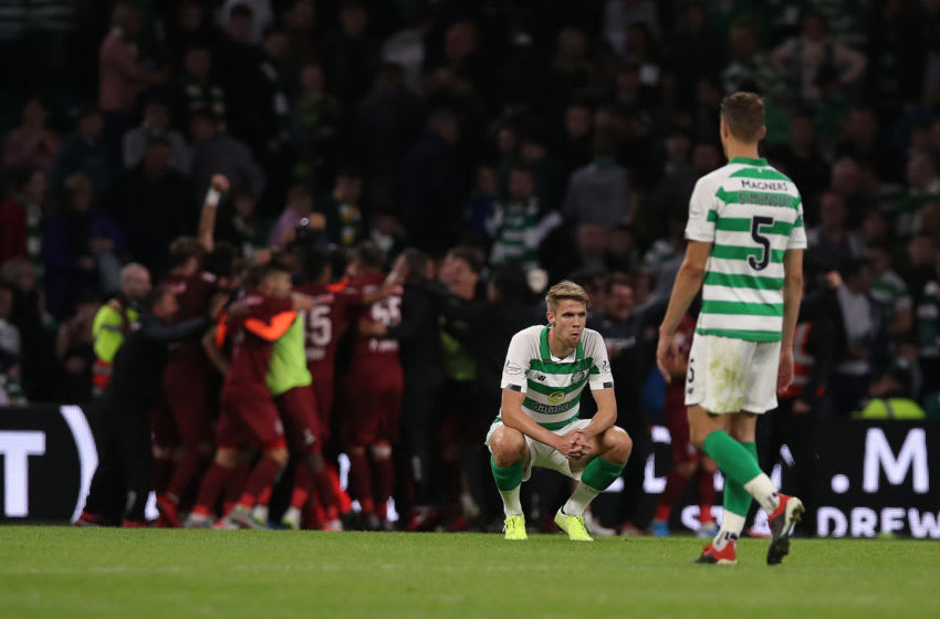 GLASGOW, SCOTLAND - AUGUST 13: Kristoffer Ajer of Celtic reacts at full time during the UEFA Champions League, third qualifying round, second leg match between Celtic and CFR Cluj at Celtic Park on August 13, 2019 in Glasgow, Scotland. (Photo by Ian MacNicol/Getty Images)