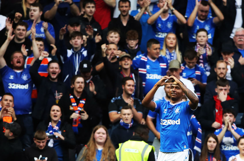 GLASGOW, SCOTLAND - AUGUST 15: Alfredo Morelos of Rangers celebrates scoring the opening goal during the UEFA Europa League third round qualifying match between Rangers and Midtjylland at Ibrox Stadium on August 15, 2019 in Glasgow, Scotland. (Photo by Ian MacNicol/Getty Images)