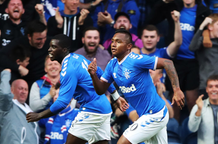 GLASGOW, SCOTLAND - AUGUST 15: Alfredo Morelos of Rangers celebrates scoring his team's opening goal during the UEFA Europa League third round qualifying match between Rangers and Midtjylland at Ibrox Stadium on August 15, 2019 in Glasgow, Scotland. (Photo by Ian MacNicol/Getty Images)