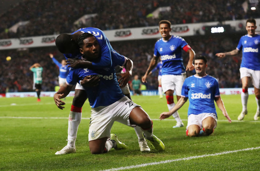 GLASGOW, SCOTLAND - AUGUST 29: Alfredo Morelos of Rangers celebrates scoring the winning goal during the UEFA Europa League Play Off First Leg match between Rangers FC and Legia Warsaw at Ibrox Stadium on August 29, 2019 in Glasgow, United Kingdom. (Photo by Ian MacNicol/Getty Images)