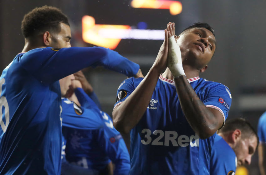 GLASGOW, SCOTLAND - DECEMBER 12: Alfredo Morelos of Rangers FC celebrates with teammates after scoring his team's first goal during the UEFA Europa League group G match between Rangers FC and BSC Young Boys at Ibrox Stadium on December 12, 2019 in Glasgow, United Kingdom. (Photo by Ian MacNicol/Getty Images)