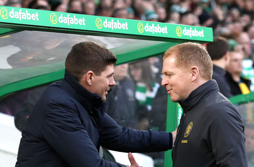 Rangers Manager Steven Gerrard and Celtic Manager Neil Lennon. (Photo by Ian MacNicol/Getty Images)