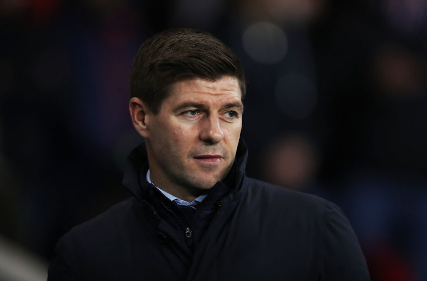 GLASGOW, SCOTLAND - MARCH 04: Rangers Manager Steven Gerrard looks on during the Ladbrokes Premiership match between Rangers and Hamilton Academical at Ibrox Stadium on March 04, 2020 in Glasgow, Scotland. (Photo by Ian MacNicol/Getty Images)