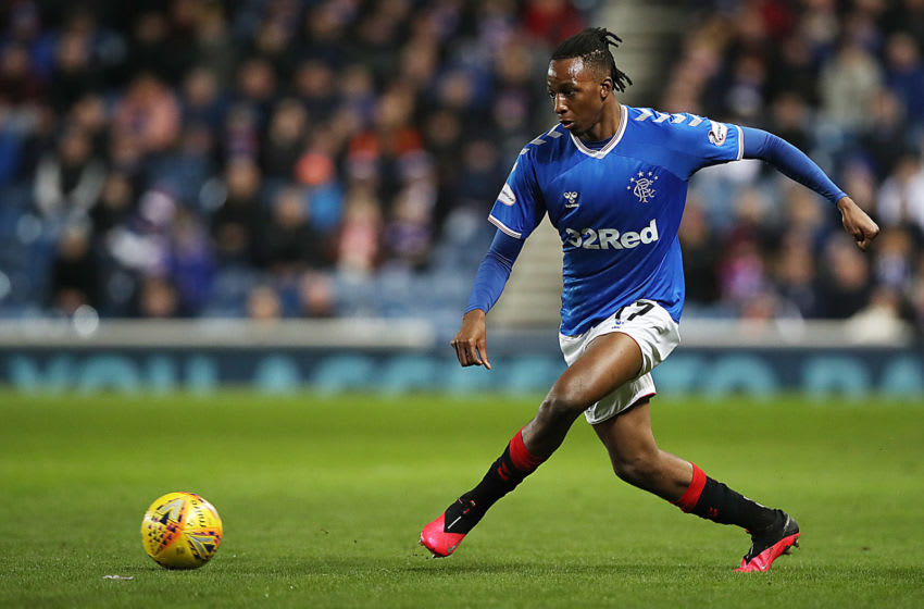 GLASGOW, SCOTLAND - MARCH 04: Joe Aribo of Rangers is seen in action during the Ladbrokes Premiership match between Rangers and Hamilton Academical at Ibrox Stadium on March 04, 2020 in Glasgow, Scotland. (Photo by Ian MacNicol/Getty Images)