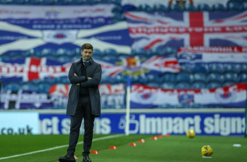 Rangers' English manager Steven Gerrard watches his players from the touchline during the UEFA Europa League qualifying round football match between Rangers FC and Galatasaray at the Ibrox Stadium in Glasgow on October 1, 2020. (Photo by Ian MacNicol / POOL / AFP) (Photo by IAN MACNICOL/POOL/AFP via Getty Images)