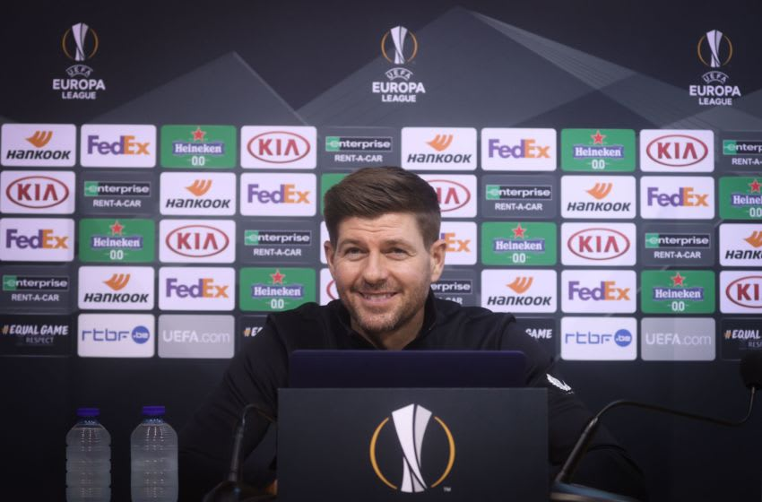 Rangers FC's head coach Steven Gerrard gives a press conference on the eve of their match against Belgian club Standard de Liege on the first day of the group phase (group D) of the UEFA Europa League football competition, in Liege on October 21, 2020. (Photo by VIRGINIE LEFOUR / Belga / AFP) / Belgium OUT (Photo by VIRGINIE LEFOUR/Belga/AFP via Getty Images)