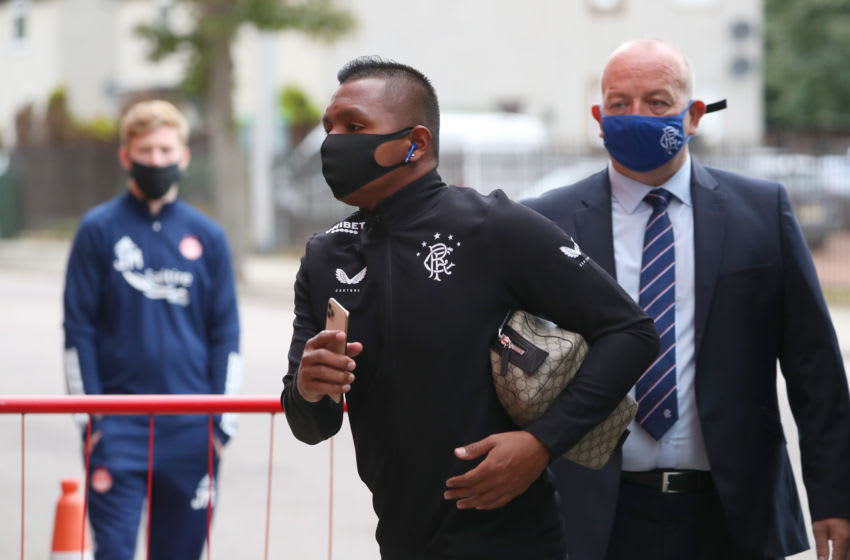 ABERDEEN, SCOTLAND - AUGUST 01: Alfredo Morelos of Rangers FC arrives at the stadium prior to the Ladbrokes Premiership match between Aberdeen and Rangers at Pittodrie Stadium on August 01, 2020 in Aberdeen, Scotland. Football Stadiums around Europe remain empty due to the Coronavirus Pandemic as Government social distancing laws prohibit fans inside venues resulting in all fixtures being played behind closed doors. (Photo by Andrew Milligan/Pool via Getty Images)