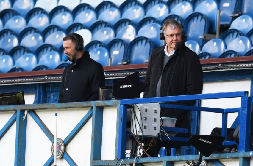 GLASGOW, SCOTLAND - AUGUST 09: Broadcast commentator Clive Tyldesley is seen commentating during the Ladbrokes Scottish Premiership match between Rangers FC and St. Mirren at Ibrox Stadium on August 09, 2020 in Glasgow, Scotland. (Photo by Willie Vass/Pool via Getty Images)