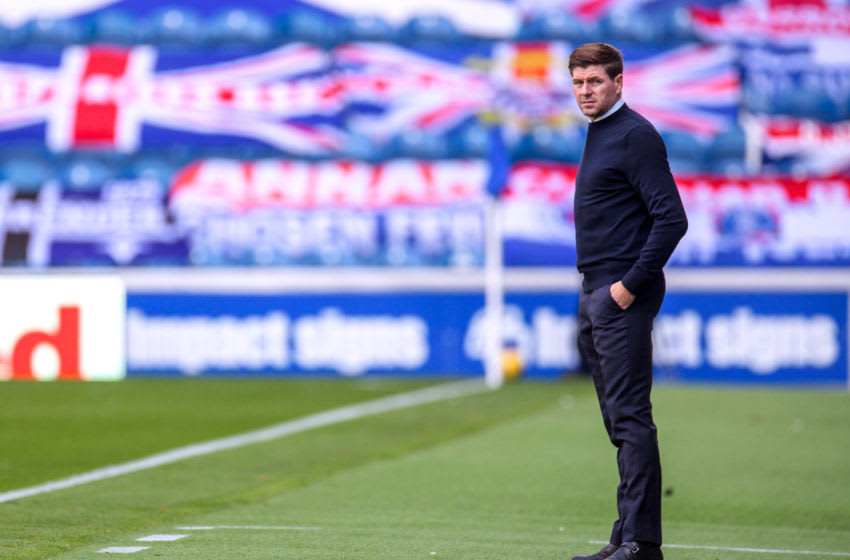 GLASGOW, SCOTLAND - AUGUST 09: Steven Gerrard, Manager of Rangers FC looks on during the Ladbrokes Scottish Premiership match between Rangers FC and St. Mirren at Ibrox Stadium on August 09, 2020 in Glasgow, Scotland. (Photo by Willie Vass/Pool via Getty Images)