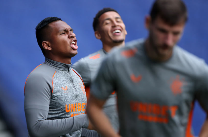 GLASGOW, SCOTLAND - AUGUST 12: Alfredo Morelos of Rangers FC warms up prior to the Ladbrokes Scottish Premiership match between Rangers and St. Johnstone at Ibrox Stadium on August 12, 2020 in Glasgow, Scotland. (Photo by Ian MacNicol/Getty Images)
