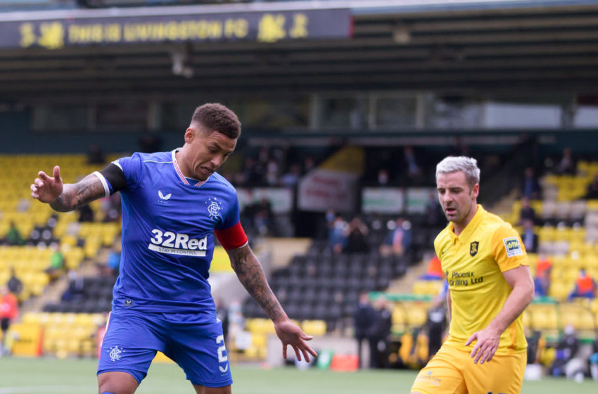LIVINGSTON, SCOTLAND - AUGUST 16: James Tavernier of Rangers battles for possession with Scott Robinson of Livingston during the Ladbrokes Scottish Premiership match between Livingston and Rangers at Tony Macaroni Arena on August 16, 2020 in Livingston, Scotland. (Photo by Willie Vass/Pool via Getty Images)