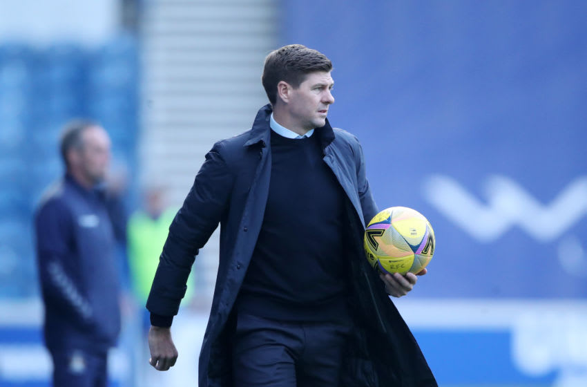 GLASGOW, SCOTLAND - AUGUST 22: Steven Gerrard, Manager of Rangers FC looks on during the Ladbrokes Scottish Premiership match between Rangers and Kilmarnock at Ibrox Stadium on August 22, 2020 in Glasgow, Scotland. (Photo by Ian MacNicol/Getty Images)