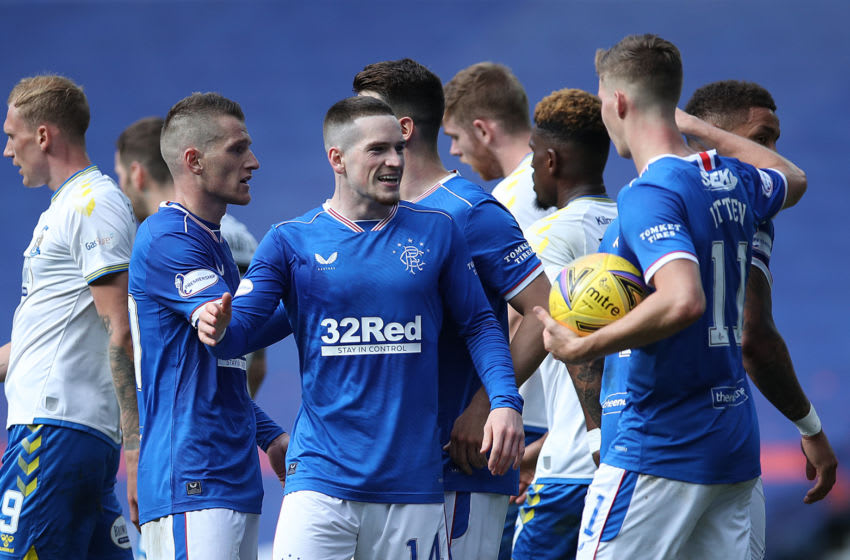 GLASGOW, SCOTLAND - AUGUST 22: Ryan Kent of Rangers celebrates after scoring his team's second goal during the Scottish Premier League match between Rangers and Kilmarnock at Ibrox Stadium on August 22, 2020 in Glasgow, Scotland. (Photo by Ian MacNicol/Getty Images)