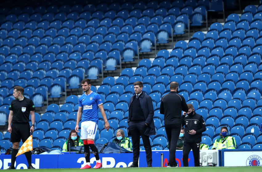 GLASGOW, SCOTLAND - SEPTEMBER 12: Steven Gerrard, Manager of Rangers looks on during the Ladbrokes Scottish Premiership match between Rangers and Dundee United at Ibrox Stadium on September 12, 2020 in Glasgow, Scotland. (Photo by Ian MacNicol/Getty Images)