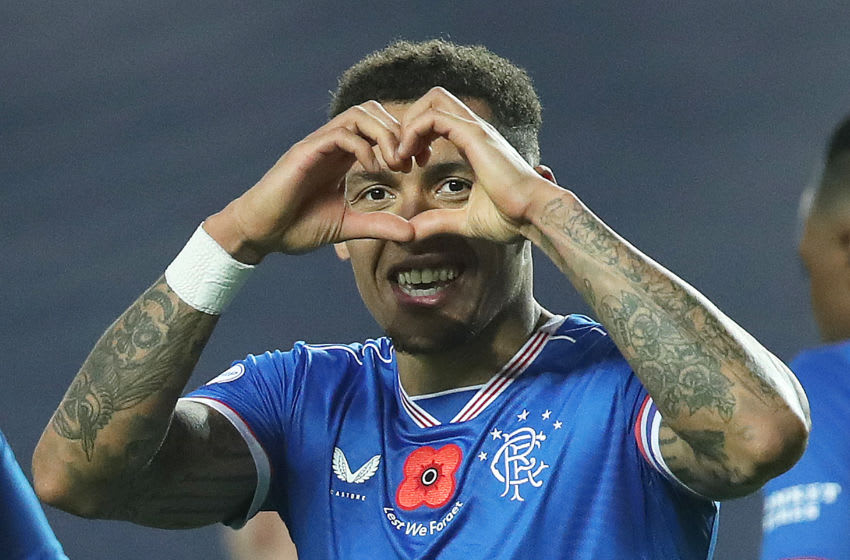 GLASGOW, SCOTLAND - NOVEMBER 08: James Tavernier of Rangers celebrates after scoring his team's eighth goal during the Ladbrokes Scottish Premiership match between Rangers and Hamilton Academical at Ibrox Stadium on November 08, 2020 in Glasgow, Scotland. Sporting stadiums around the UK remain under strict restrictions due to the Coronavirus Pandemic as Government social distancing laws prohibit fans inside venues resulting in games being played behind closed doors. (Photo by Ian MacNicol/Getty Images)