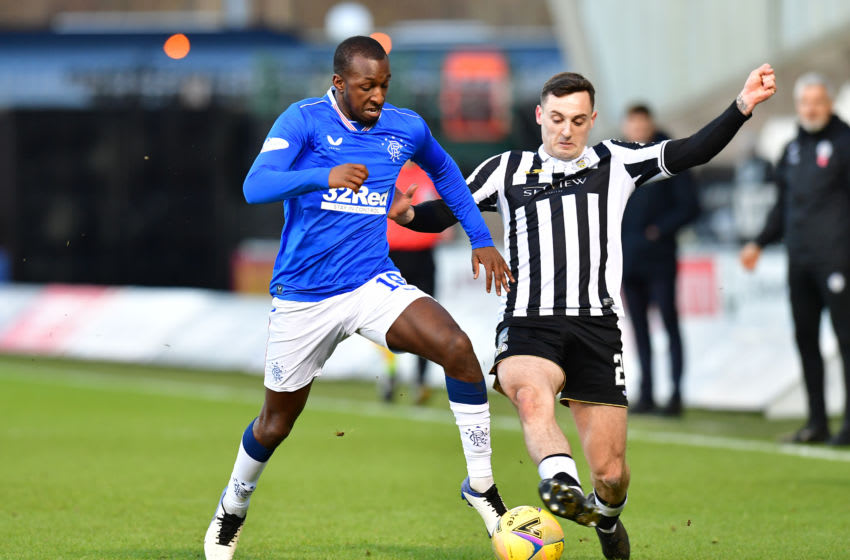 PAISLEY, SCOTLAND - DECEMBER 30: Glen Kamara of Rangers battles for possession with Brandon Barker of Rangers during the Ladbrokes Scottish Premiership match between St.Mirren and Rangers at The Simple Digital Arena on December 30, 2020 in Paisley, Scotland. The match will be played without fans, behind closed doors as a Covid-19 precaution. (Photo by Mark Runnacles/Getty Images)