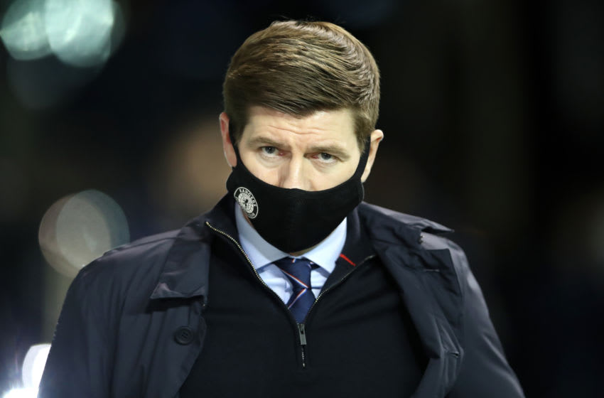 EDINBURGH, SCOTLAND - JANUARY 27: Steven Gerrard, Manager of Rangers is seen wearing a face mask as he arrives at the stadium ahead of the Ladbrokes Scottish Premiership match between Hibernian and Rangers at Easter Road on January 27, 2021 in Edinburgh, Scotland. Sporting stadiums around the UK remain under strict restrictions due to the Coronavirus Pandemic as Government social distancing laws prohibit fans inside venues resulting in games being played behind closed doors. (Photo by Ian MacNicol/Getty Images)