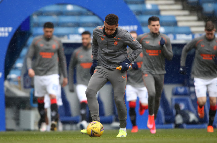 GLASGOW, SCOTLAND - FEBRUARY 13: James Tavernier of Rangers warms up prior to the Ladbrokes Scottish Premiership match between Rangers and Kilmarnock at Ibrox Stadium on February 13, 2021 in Glasgow, Scotland. Sporting stadiums around the UK remain under strict restrictions due to the Coronavirus Pandemic as Government social distancing laws prohibit fans inside venues resulting in games being played behind closed doors. (Photo by Ian MacNicol/Getty Images)