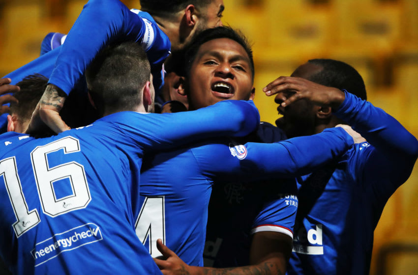 LIVINGSTON, SCOTLAND - MARCH 03: Alfredo Morelos of Rangers celebrates after scoring the only goal of the game during Rangers 1-0 victory over Livingston at Tony Macaroni Arena on March 03, 2021 in Livingston, Scotland. Sporting stadiums around the UK remain under strict restrictions due to the Coronavirus Pandemic as Government social distancing laws prohibit fans inside venues resulting in games being played behind closed doors. (Photo by Ian MacNicol/Getty Images)