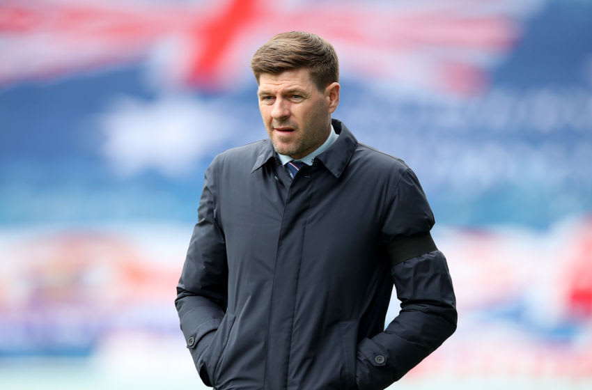 GLASGOW, SCOTLAND - APRIL 11: Steven Gerrard, Manager of Rangers looks on prior to the Ladbrokes Scottish Premiership match between Rangers and Hibernian at Ibrox Stadium on April 11, 2021 in Glasgow, Scotland. Sporting stadiums around the UK remain under strict restrictions due to the Coronavirus Pandemic as Government social distancing laws prohibit fans inside venues resulting in games being played behind closed doors. (Photo by Ian MacNicol/Getty Images)