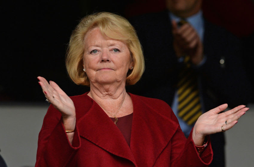 EDINBURGH, SCOTLAND - JUNE 30: Ann Budge, Owner, CEO and Chairwoman of Hearts during the UEFA Europa League First Qualifying Round match between Heart of Midlothian FC and FC Infonet Tallinn at Tyncastle Stadium on June 30, 2016 in Edinburgh, Scotland. (Photo by Mark Runnacles/Getty Images)