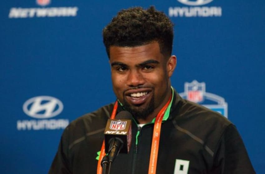Feb 25, 2016; Indianapolis, IN, USA; Ohio State running back Ezekiel Elliott speaks to the media during the 2016 NFL Scouting Combine at Lucas Oil Stadium. Mandatory Credit: Trevor Ruszkowski-USA TODAY Sports