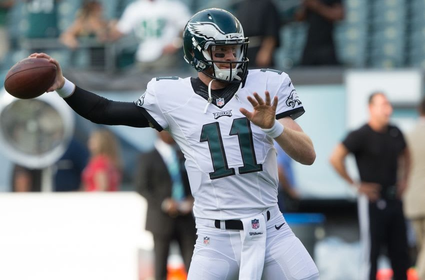 Aug 11, 2016; Philadelphia, PA, USA; Philadelphia Eagles quarterback Carson Wentz (11) warms up before action against the Tampa Bay Buccaneers at Lincoln Financial Field. Mandatory Credit: Bill Streicher-USA TODAY Sports