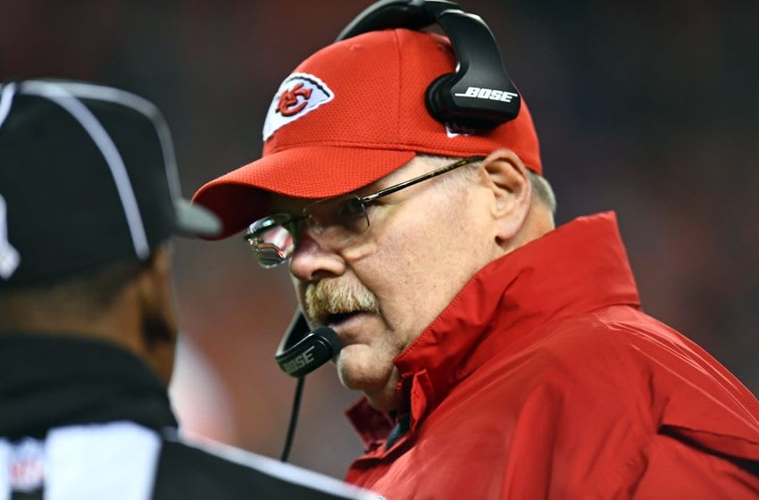 Nov 27, 2016; Denver, CO, USA; Kansas City Chiefs head coach Andy Reid speaks to an official in a overtime period against the Denver Broncos at Sports Authority Field at Mile High. The Chiefs defeated the Broncos 30-27 in overtime. Mandatory Credit: Ron Chenoy-USA TODAY Sports