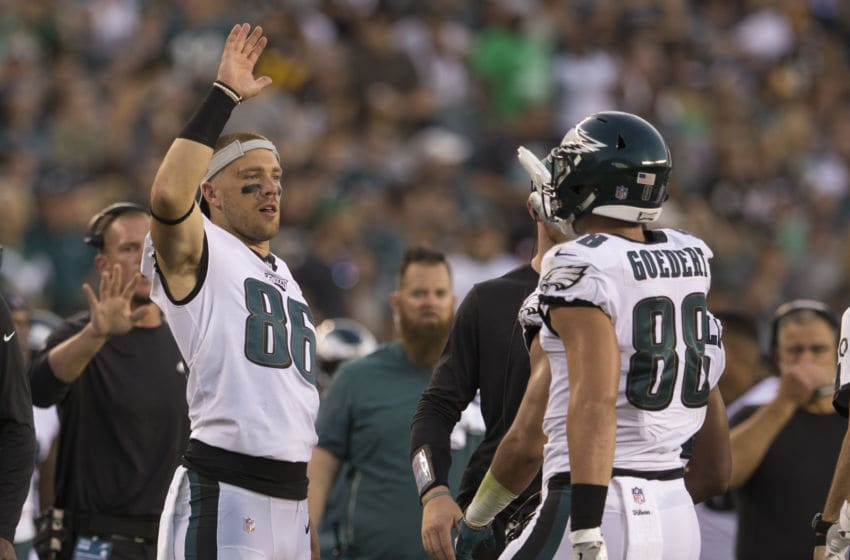 PHILADELPHIA, PA - AUGUST 09: Zach Ertz #86 of the Philadelphia Eagles high fives Dallas Goedert #88 during the preseason game against the Pittsburgh Steelers at Lincoln Financial Field on August 9, 2018 in Philadelphia, Pennsylvania. (Photo by Mitchell Leff/Getty Images)