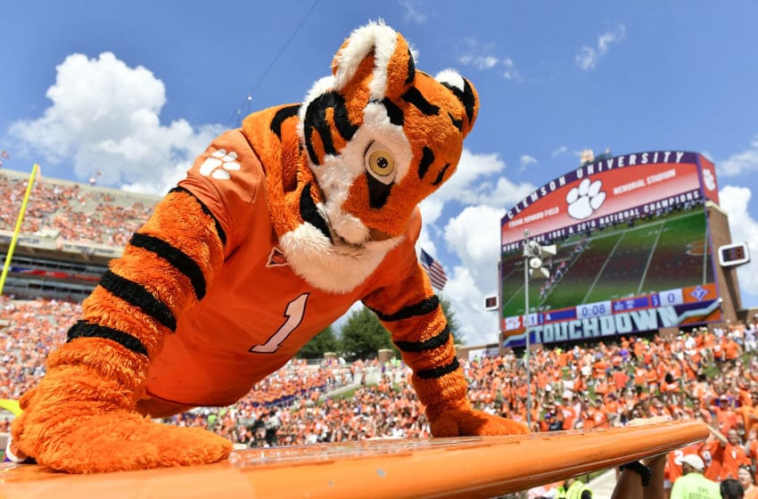CLEMSON, SC - SEPTEMBER 01: The Clemson Tiger mascot does pushups after the Tigers scored a touchdown in the third quarter of their game against the Furman Paladins at Clemson Memorial Stadium on September 1, 2018 in Clemson, South Carolina. (Photo by Mike Comer/Getty Images)