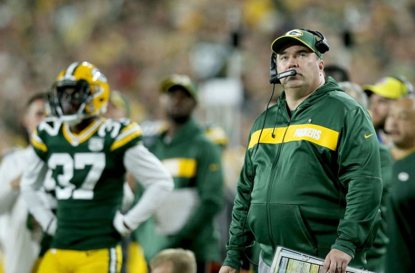 GREEN BAY, WI - SEPTEMBER 09: Head coach Mike McCarthy of the Green Bay Packers watches from the sidelines during the second quarter of a game against the Chicago Bears at Lambeau Field on September 9, 2018 in Green Bay, Wisconsin. (Photo by Dylan Buell/Getty Images)