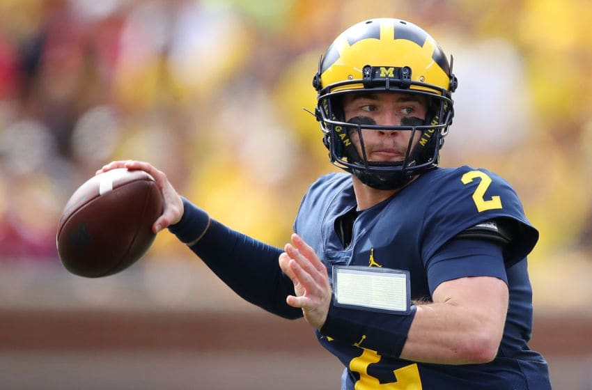 ANN ARBOR, MI - SEPTEMBER 22: Shea Patterson #2 of the Michigan Wolverines throws a seocnd half pass while playing the Nebraska Cornhuskers on September 22, 2018 at Michigan Stadium in Ann Arbor, Michigan. (Photo by Gregory Shamus/Getty Images)