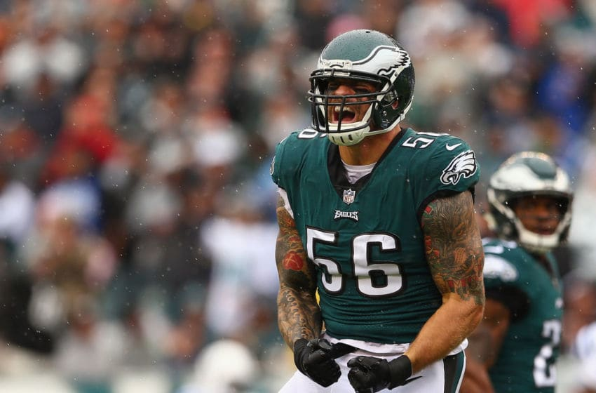 PHILADELPHIA, PA - SEPTEMBER 23: Defensive end Chris Long #56 of the Philadelphia Eagles reacts after a stop on the third down in the first quarter against the Indianapolis Colts at Lincoln Financial Field on September 23, 2018 in Philadelphia, Pennsylvania. (Photo by Mitchell Leff/Getty Images)
