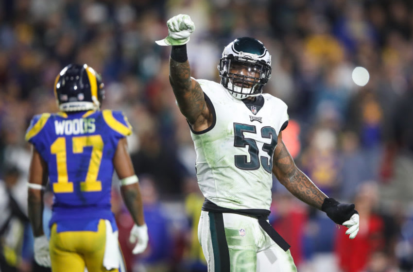 LOS ANGELES, CA - DECEMBER 16: Outside linebacker Nigel Bradham #53 of the Philadelphia Eagles reacts to a broken up pass play in the fourth quarter against the Los Angeles Rams at Los Angeles Memorial Coliseum on December 16, 2018 in Los Angeles, California. (Photo by Sean M. Haffey/Getty Images)