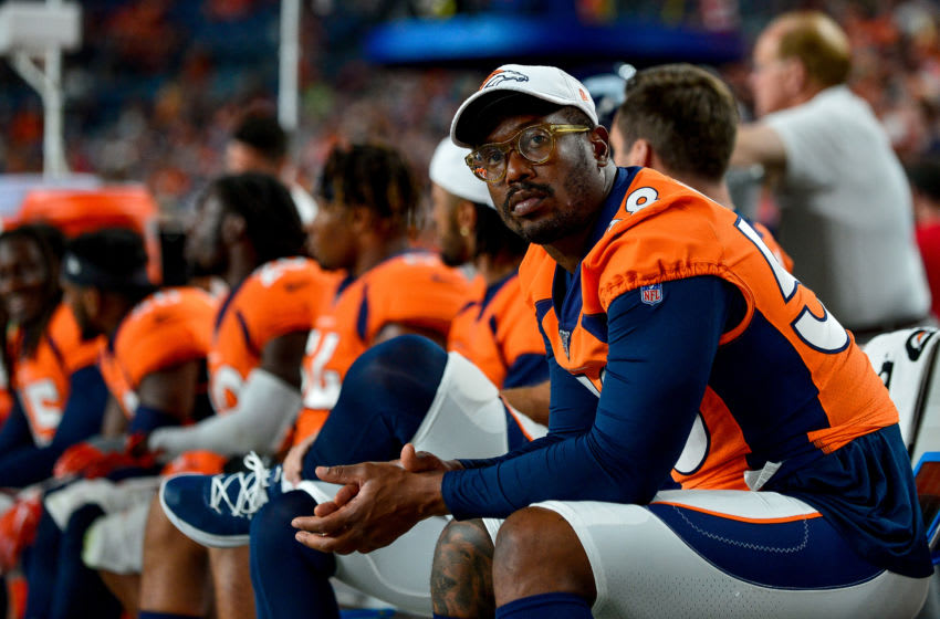 DENVER, CO - AUGUST 29: Von Miller #58 of the Denver Broncos sits on the bench during a preseason National Football League game against the Arizona Cardinals at Broncos Stadium at Mile High on August 29, 2019 in Denver, Colorado. (Photo by Dustin Bradford/Getty Images)