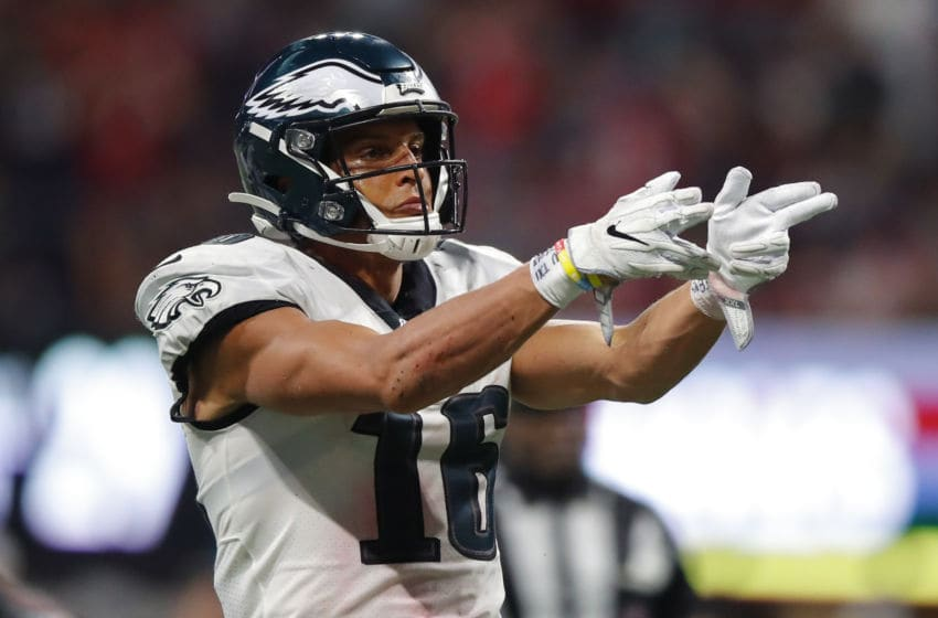 ATLANTA, GA - SEPTEMBER 15: Mack Hollins #16 of the Philadelphia Eagles reacts in the second half of an NFL game against the Atlanta Falcons at Mercedes-Benz Stadium on September 15, 2019 in Atlanta, Georgia. (Photo by Todd Kirkland/Getty Images)