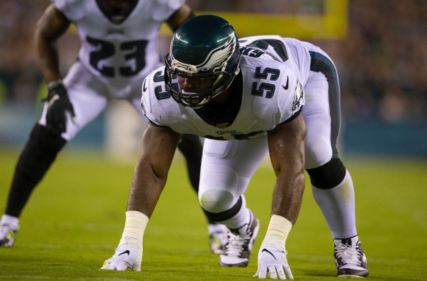 PHILADELPHIA, PA - AUGUST 22: Brandon Graham #55 of the Philadelphia Eagles in action against the Baltimore Ravens in the preseason game at Lincoln Financial Field on August 22, 2019 in Philadelphia, Pennsylvania. (Photo by Mitchell Leff/Getty Images)