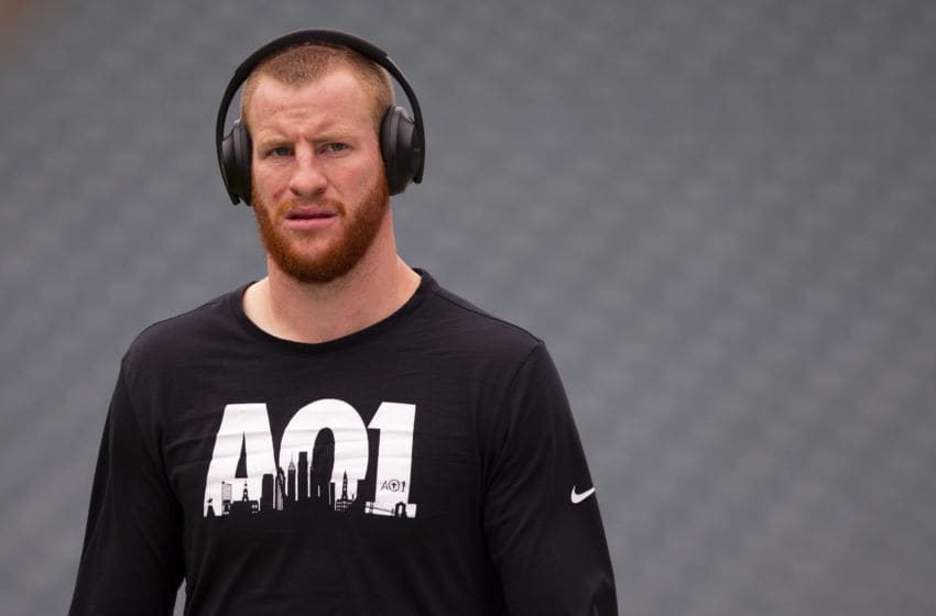 PHILADELPHIA, PA - OCTOBER 06: Carson Wentz #11 of the Philadelphia Eagles looks on prior to the game against the New York Jets at Lincoln Financial Field on October 6, 2019 in Philadelphia, Pennsylvania. (Photo by Mitchell Leff/Getty Images)