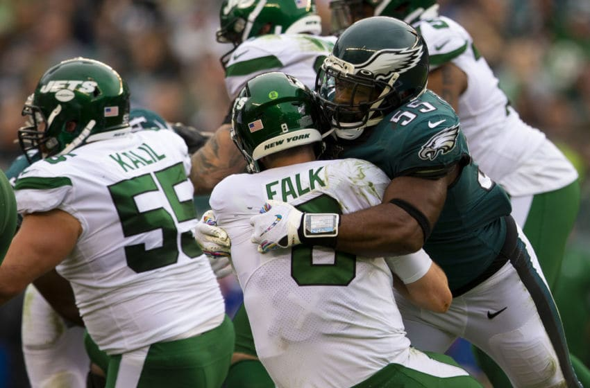 PHILADELPHIA, PA - OCTOBER 06: Brandon Graham #55 of the Philadelphia Eagles sacks Luke Falk #8 of the New York Jets in the third quarter at Lincoln Financial Field on October 6, 2019 in Philadelphia, Pennsylvania. The Eagles defeated the Jets 31-6. (Photo by Mitchell Leff/Getty Images)