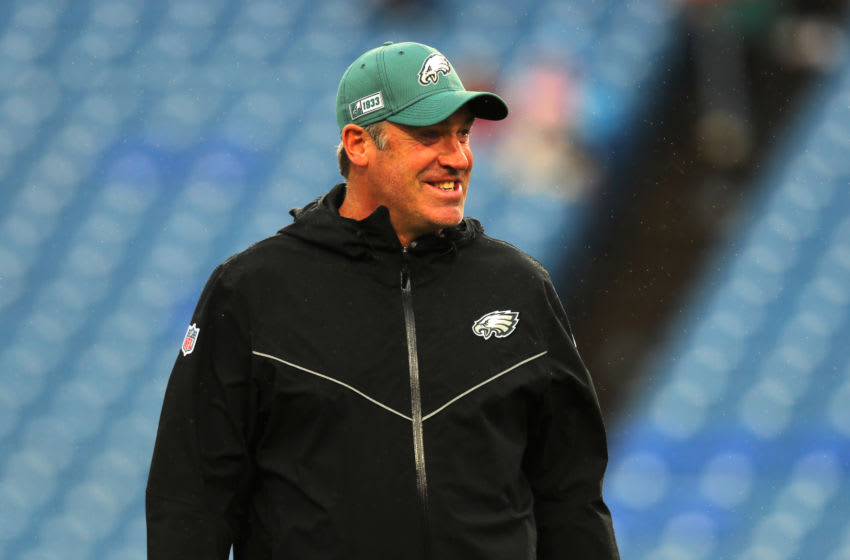 ORCHARD PARK, NY - OCTOBER 27: Head coach Doug Pederson of the Philadelphia Eagles on the field before a game against the Buffalo Bills at New Era Field on October 27, 2019 in Orchard Park, New York. (Photo by Timothy T Ludwig/Getty Images)