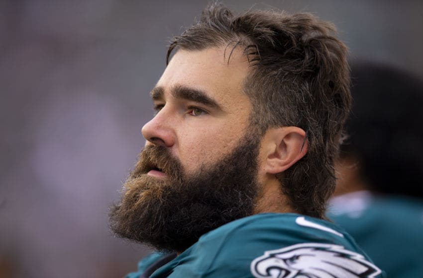 PHILADELPHIA, PA - OCTOBER 06: Jason Kelce #62 of the Philadelphia Eagles looks on against the New York Jets at Lincoln Financial Field on October 6, 2019 in Philadelphia, Pennsylvania. (Photo by Mitchell Leff/Getty Images)