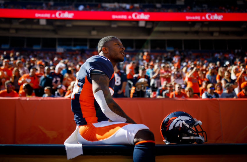 DENVER, CO - OCTOBER 13: Strong safety Will Parks #34 of the Denver Broncos sits on the sideline before the game against the Tennessee Titans at Empower Field at Mile High on October 13, 2019 in Denver, Colorado. (Photo by Justin Edmonds/Getty Images)