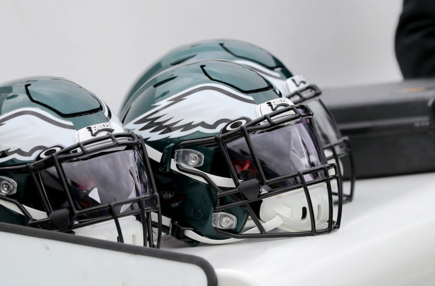 ORCHARD PARK, NY - OCTOBER 27: A general view of a Philadelphia Eagles helmet before a game against the Buffalo Bills at New Era Field on October 27, 2019 in Orchard Park, New York. Eagles beat the Bills 31 to 13. (Photo by Timothy T Ludwig/Getty Images)