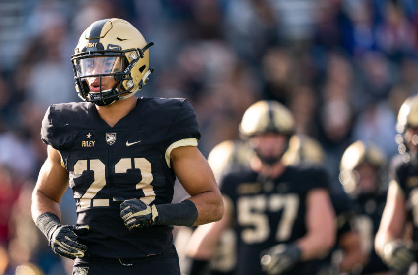WEST POINT, NY - OCTOBER 26: Elijah Riley #23 of the Army Black Knights during the fourth quarter of a game against the the San Jose State Spartans at Michie Stadium on October 26, 2019 in West Point, New York. (Photo by Dustin Satloff/Getty Images)
